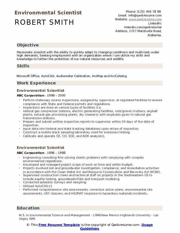 environmental scientist resume samples