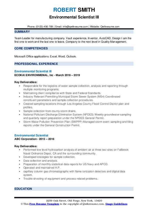 Environmental Scientist III Resume Template