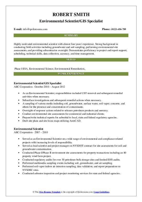 Environmental Scientist/GIS Specialist Resume Format