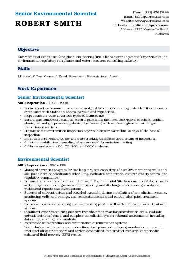 Senior Environmental Scientist Resume Sample