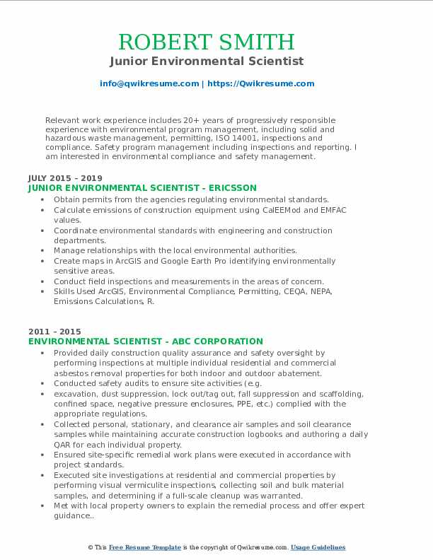 Junior Environmental Scientist Resume Template
