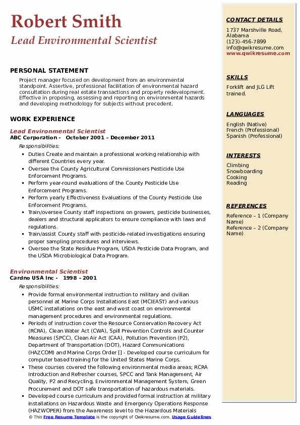 Lead Environmental Scientist Resume Format