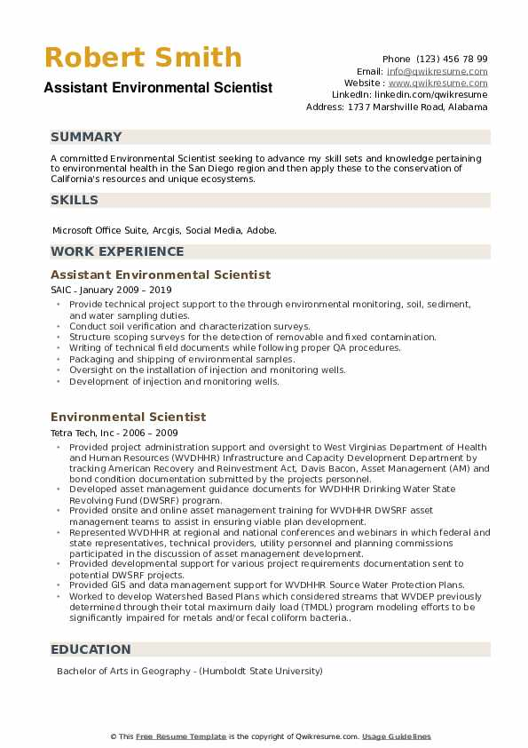 Assistant Environmental Scientist Resume Sample