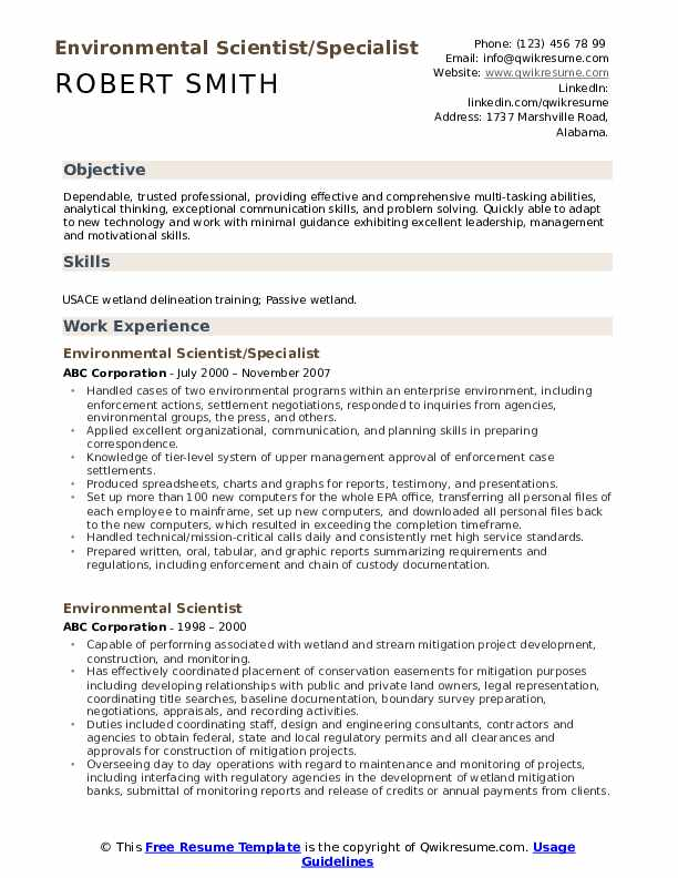 Environmental Scientist/Specialist Resume Format