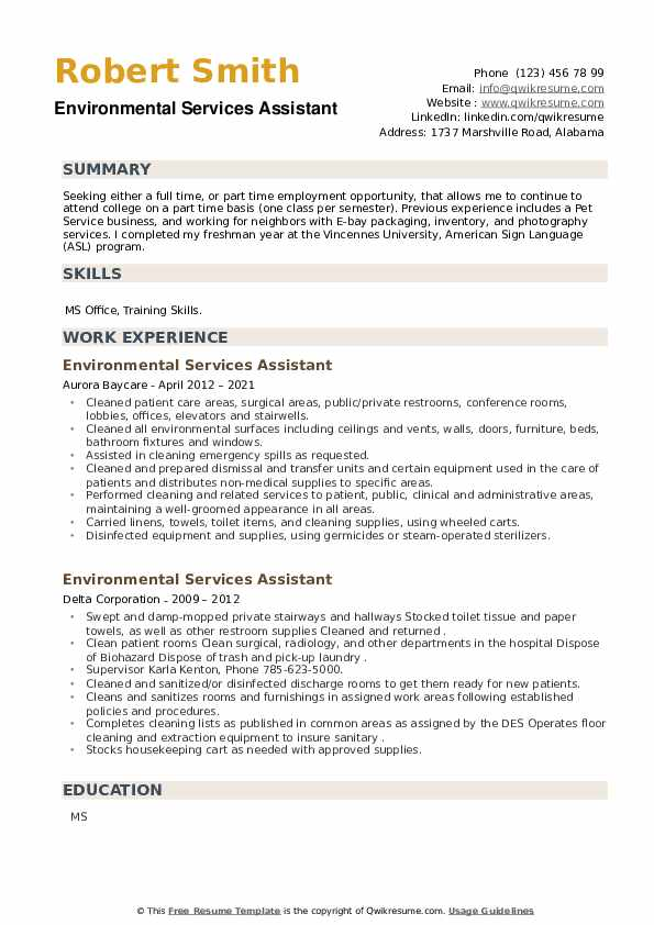 Environmental Services Assistant Resume example
