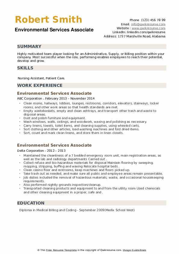 Environmental Services Associate Resume example