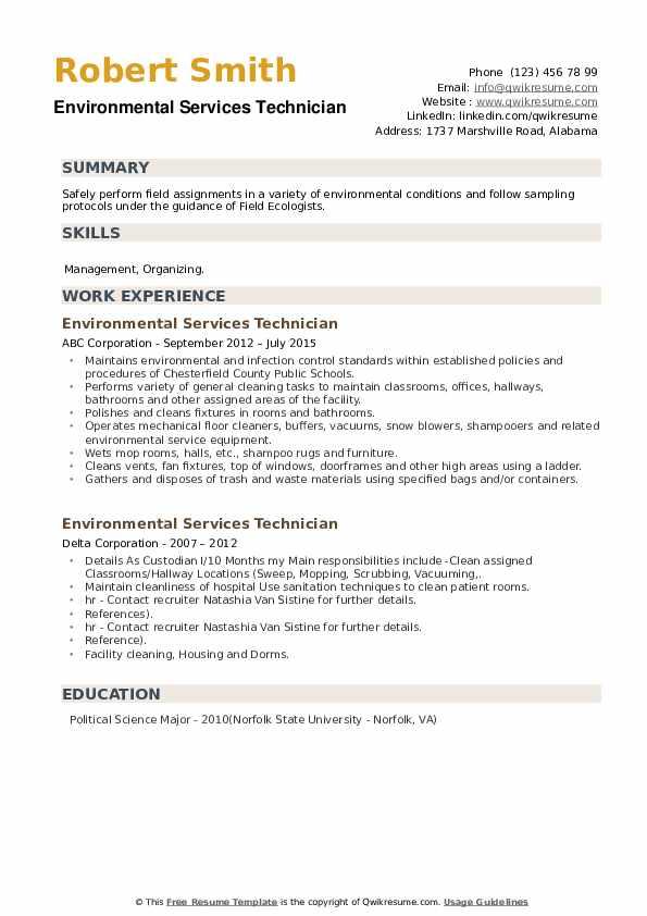 Environmental Services Technician Resume example