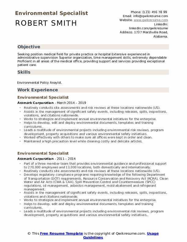 Environmental Specialist Resume Sample