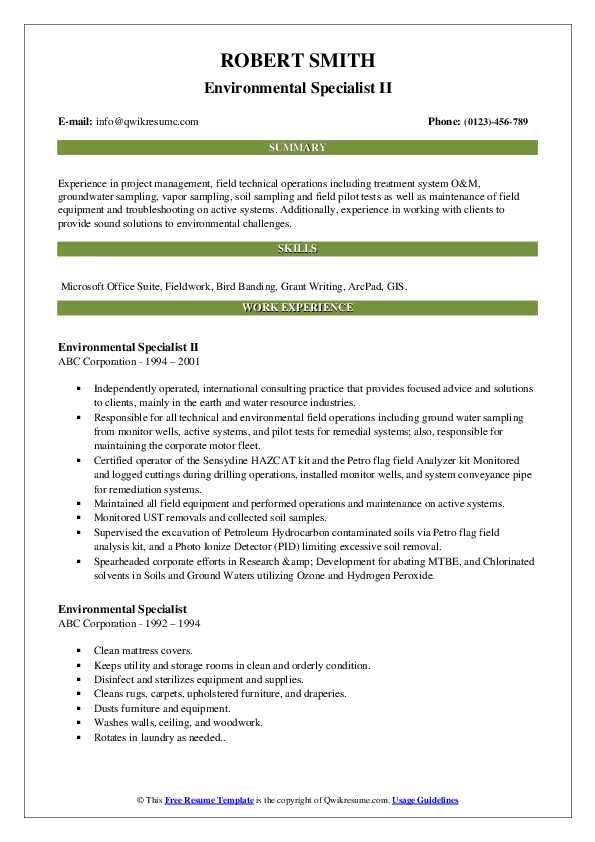 Environmental Specialist II Resume Format