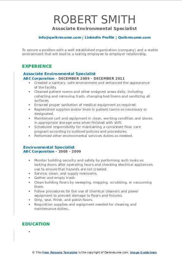 Associate Environmental Specialist Resume Template