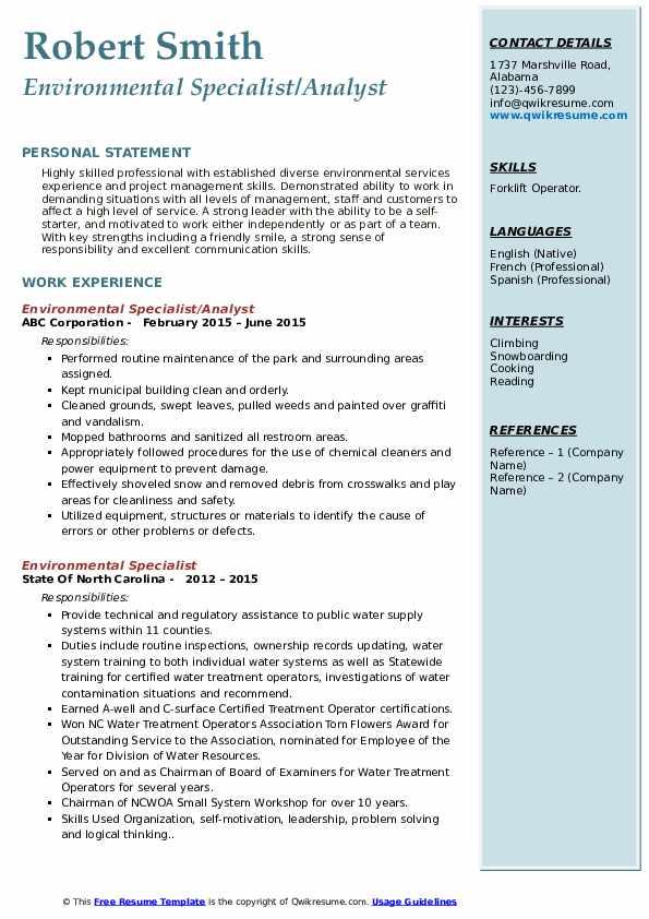 Environmental Specialist/Analyst Resume Sample