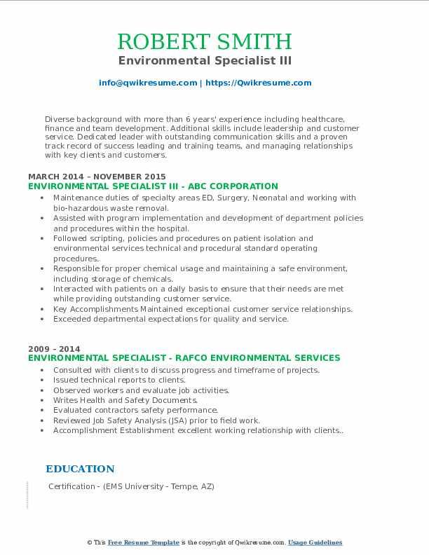 Environmental Specialist III Resume Model