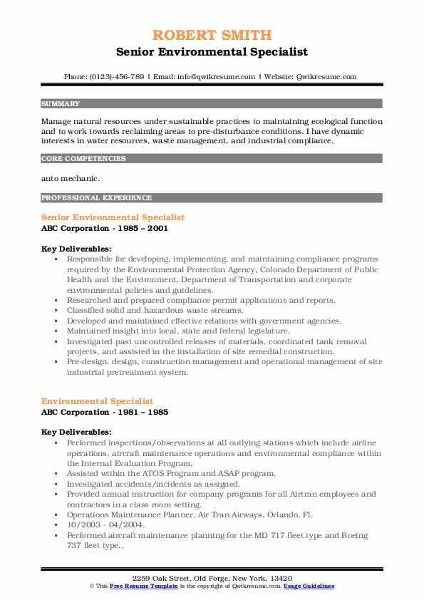 Senior Environmental Specialist Resume Example