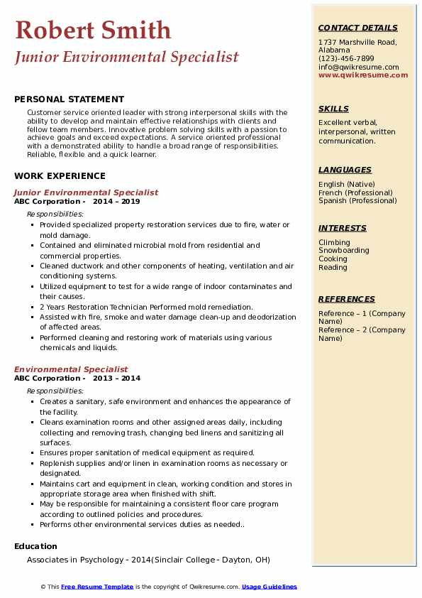 Junior Environmental Specialist Resume Template