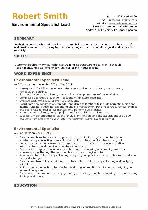 Environmental Specialist Lead Resume Example