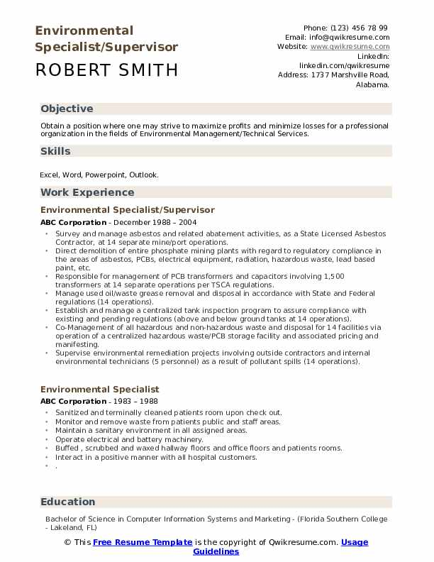Environmental Specialist/Supervisor Resume Sample