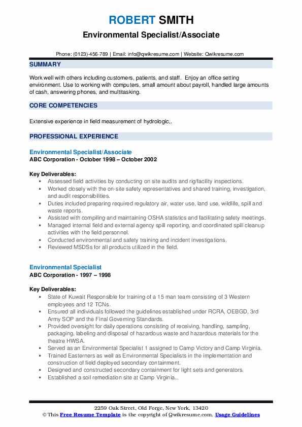 Environmental Specialist/Associate Resume Template