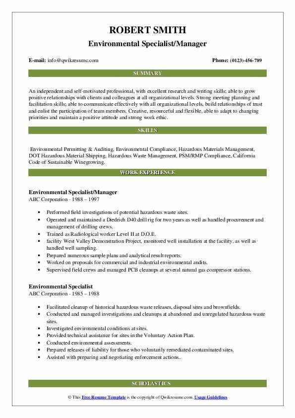 environmental specialist resume samples