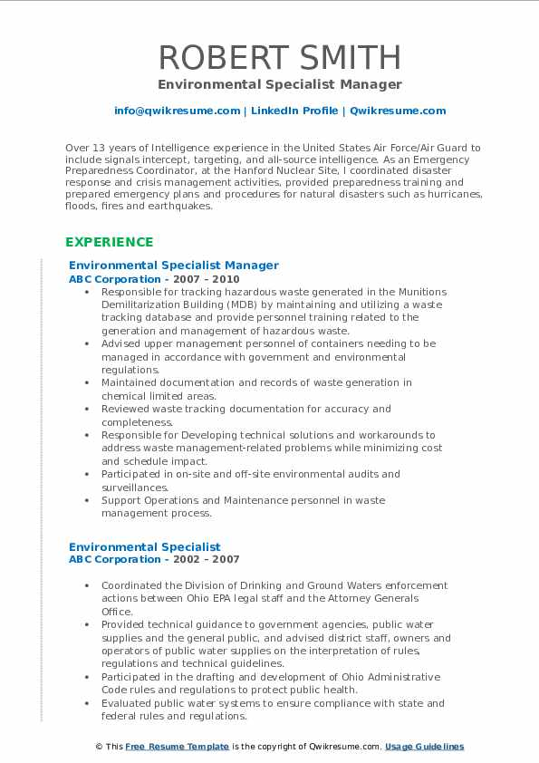 Environmental Specialist Manager Resume Sample