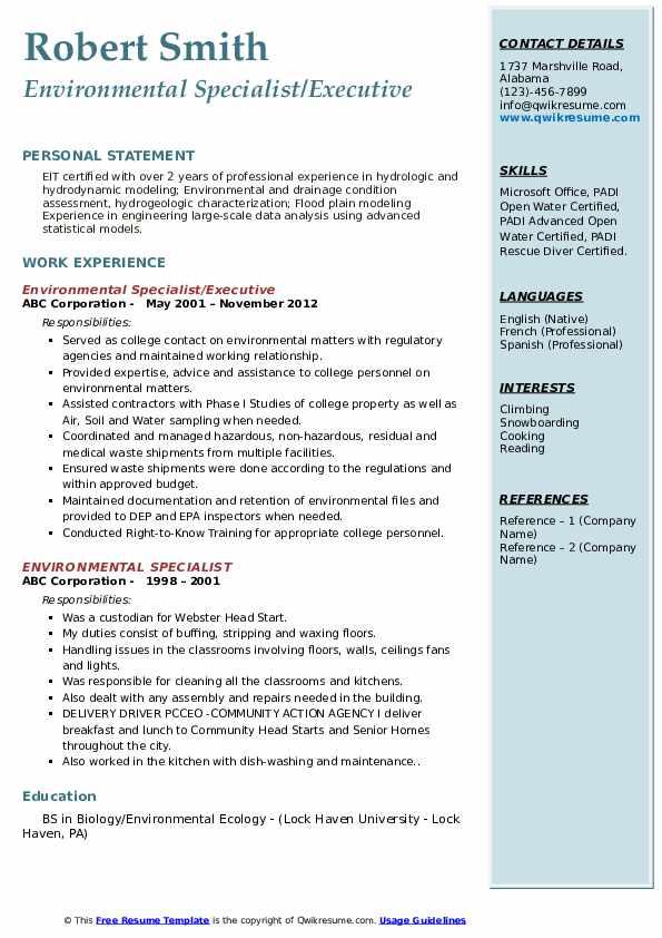 Environmental Specialist/Executive Resume Sample