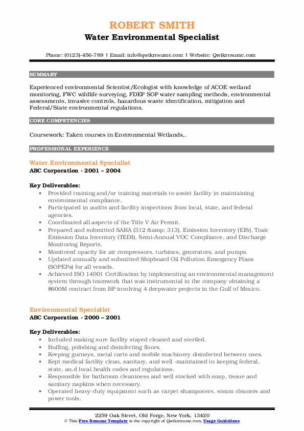 Water Environmental Specialist Resume Template