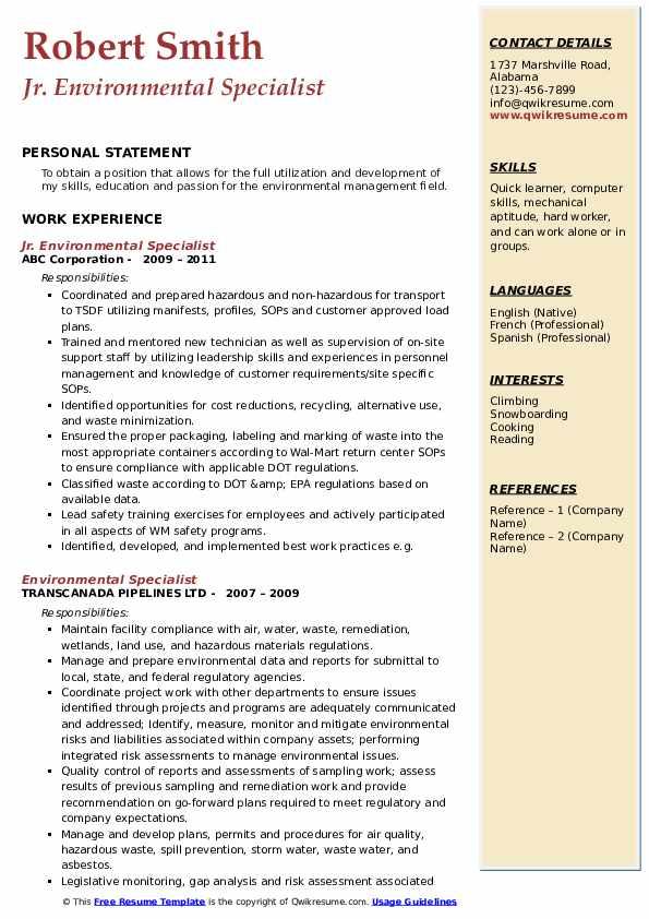 Jr. Environmental Specialist Resume Format