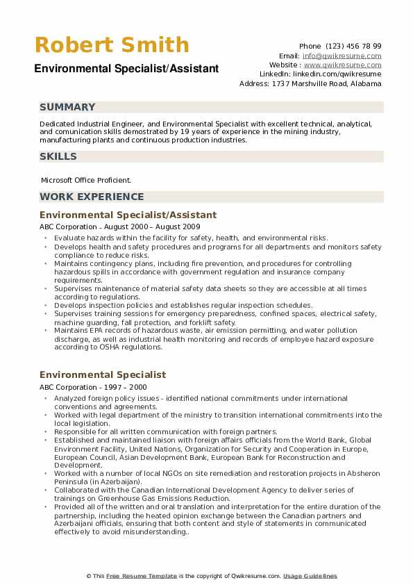 Environmental Specialist/Assistant Resume Format