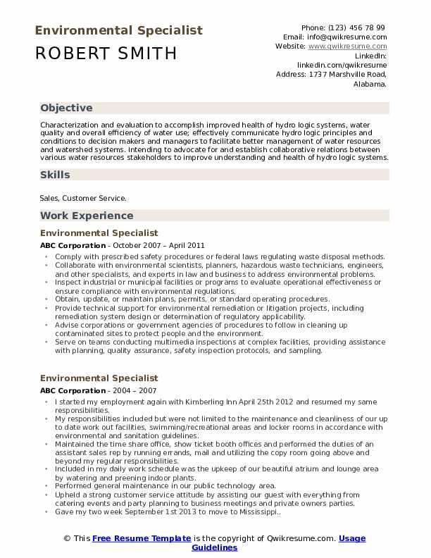 Environmental Specialist Resume example