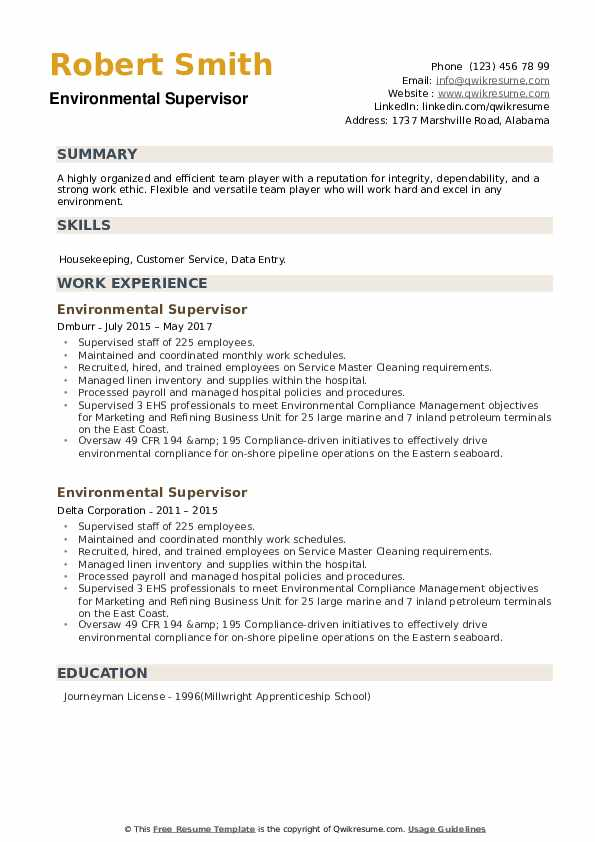 Environmental Supervisor Resume example