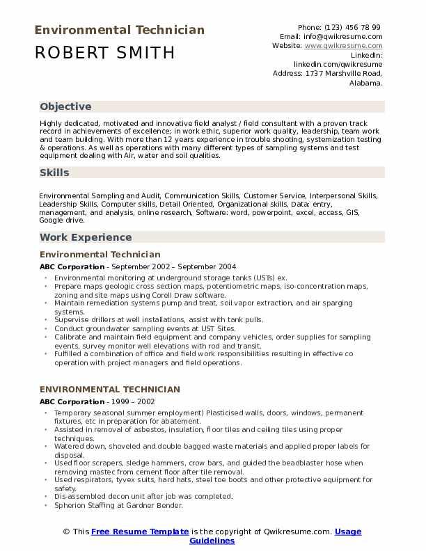 Environmental Technician Resume Samples | QwikResume