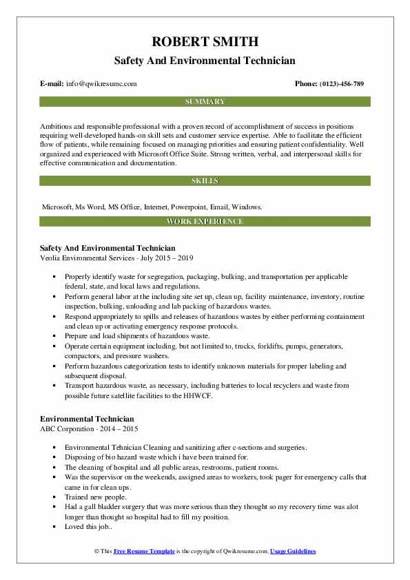 Safety And Environmental Technician Resume Example