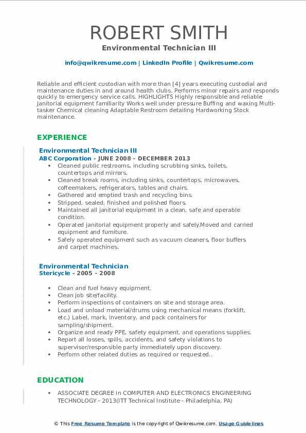 Environmental Technician III Resume Sample