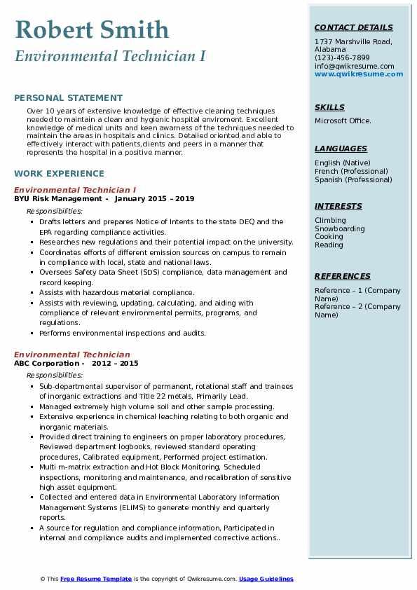 Environmental Technician I Resume Sample