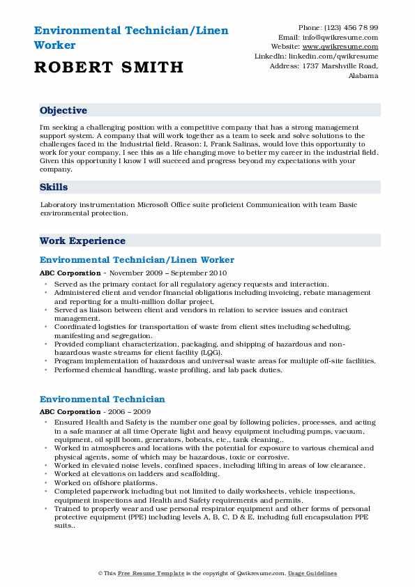 Environmental Technician/Linen Worker Resume Template