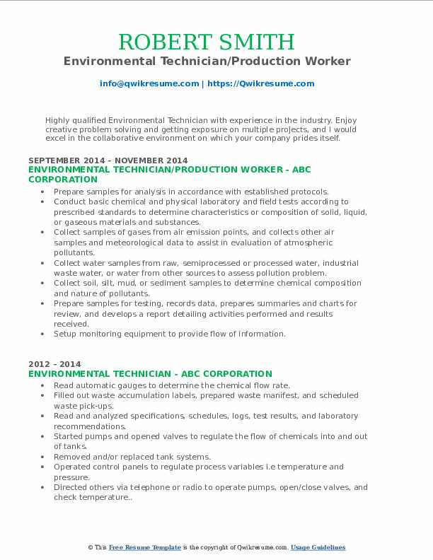Environmental Technician/Production Worker Resume Example