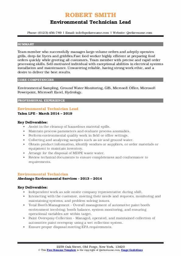 Environmental Technician Lead Resume Model