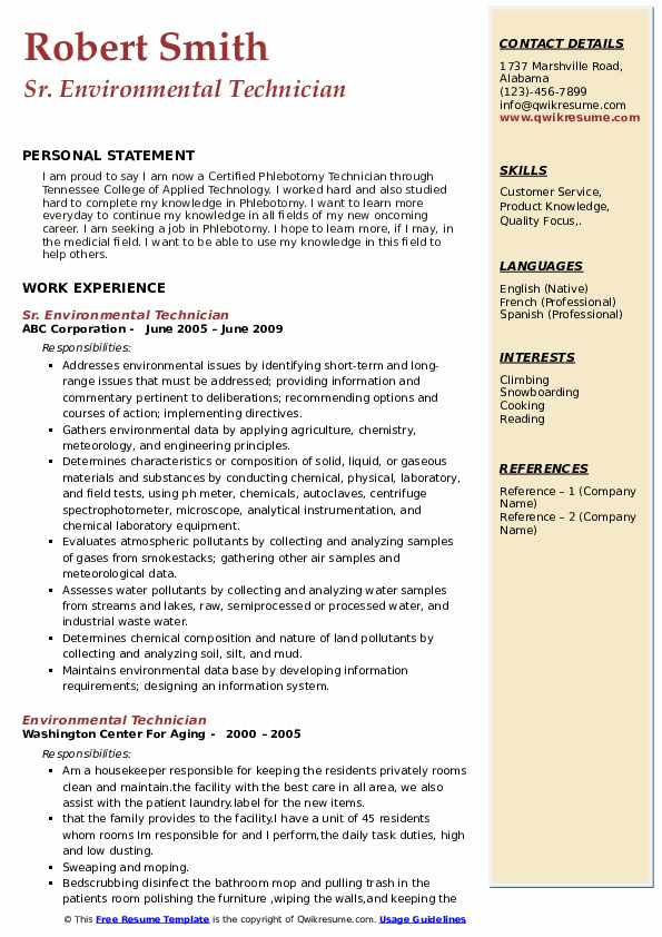 Sr. Environmental Technician Resume Example