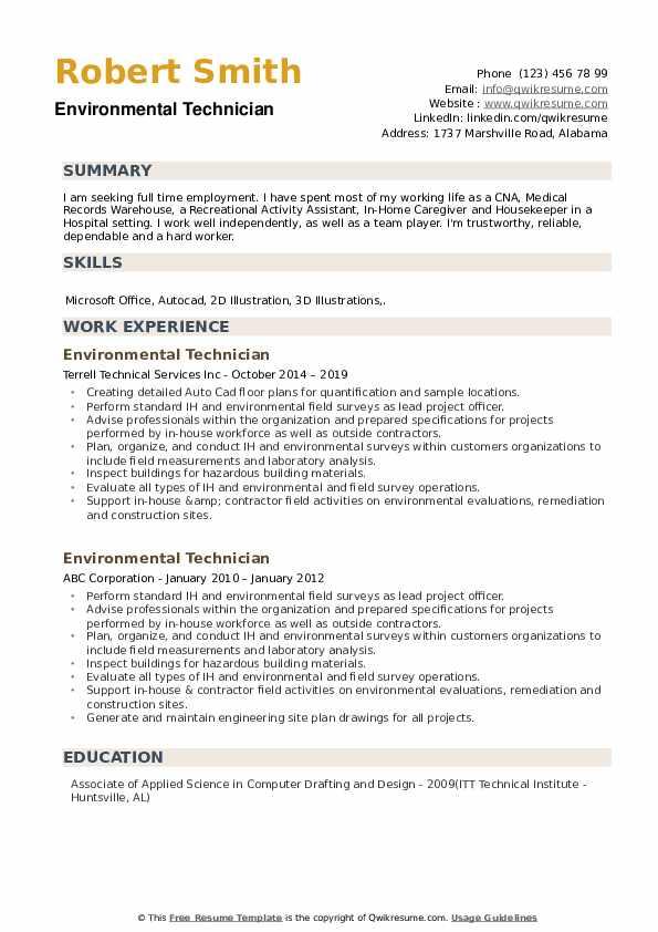 Environmental Technician Resume Template