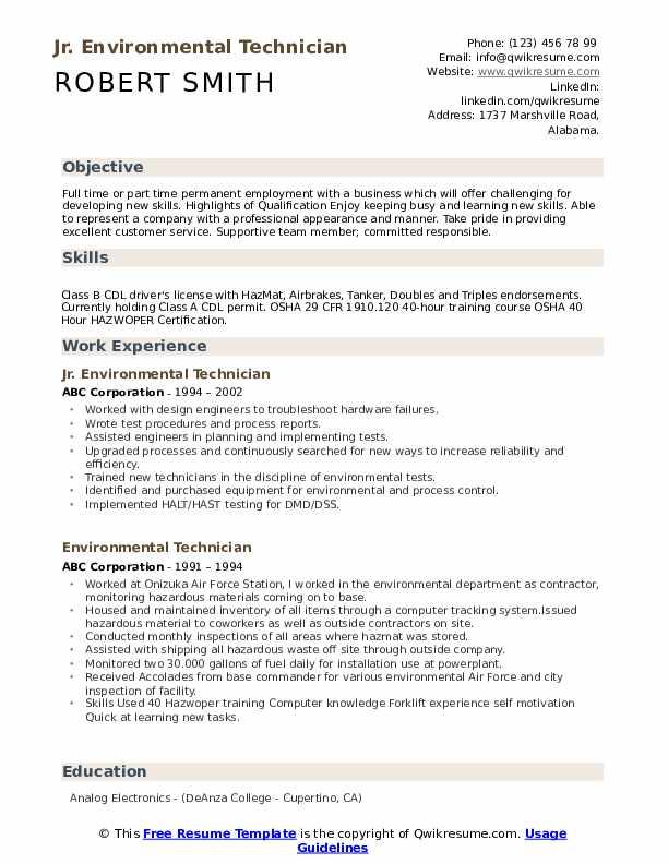 Jr. Environmental Technician Resume Format