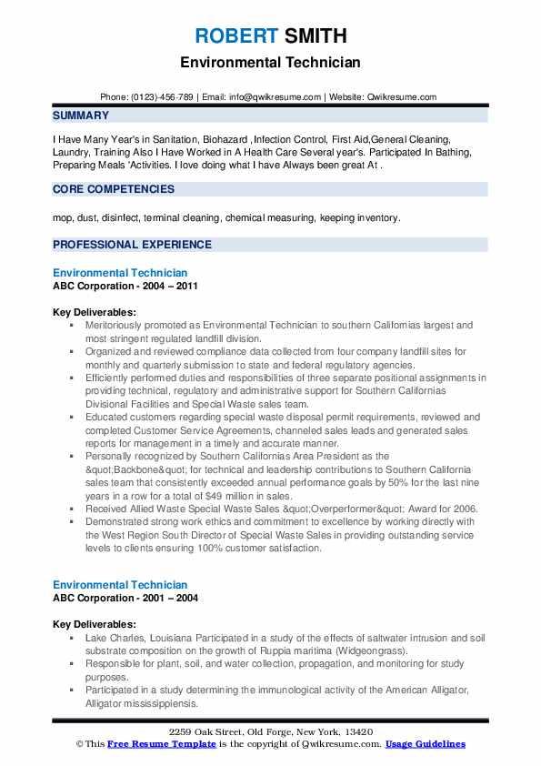 Environmental Technician Resume example