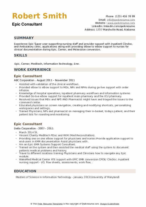 Epic Consultant Resume example