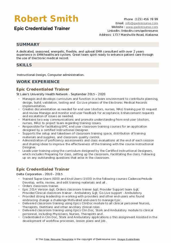 Epic Credentialed Trainer Resume example