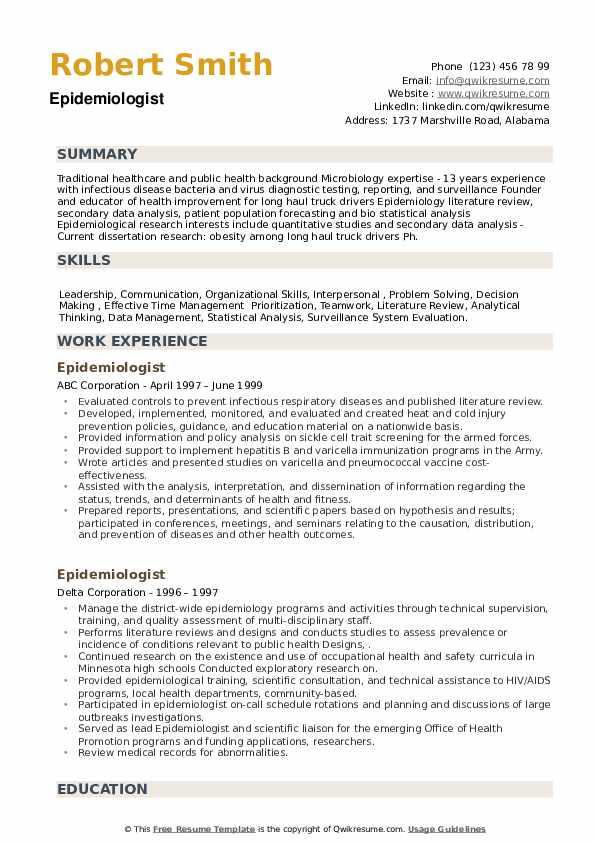 Epidemiologist Resume example