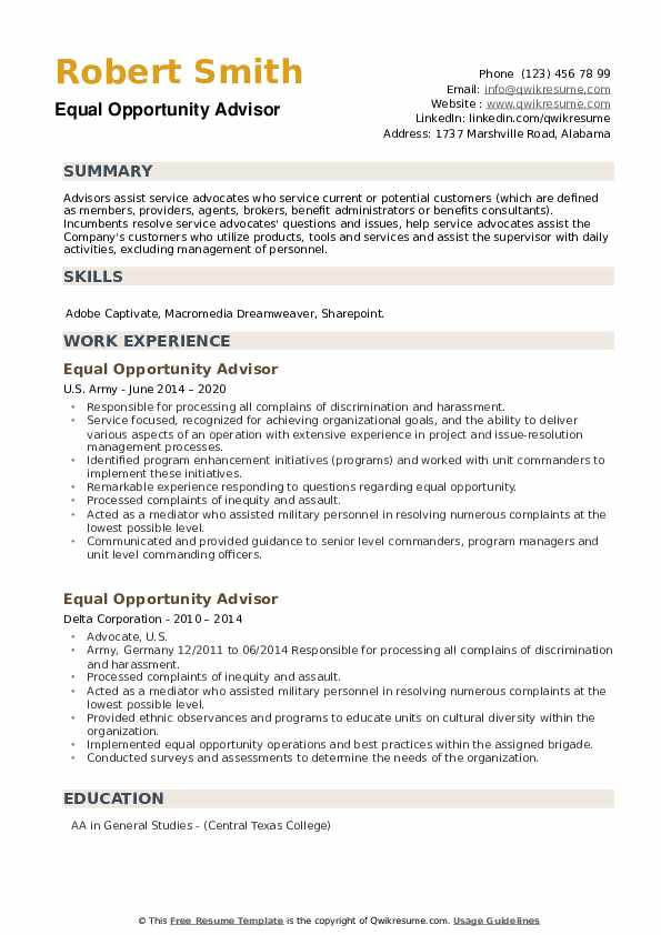 Equal Opportunity Advisor Resume example