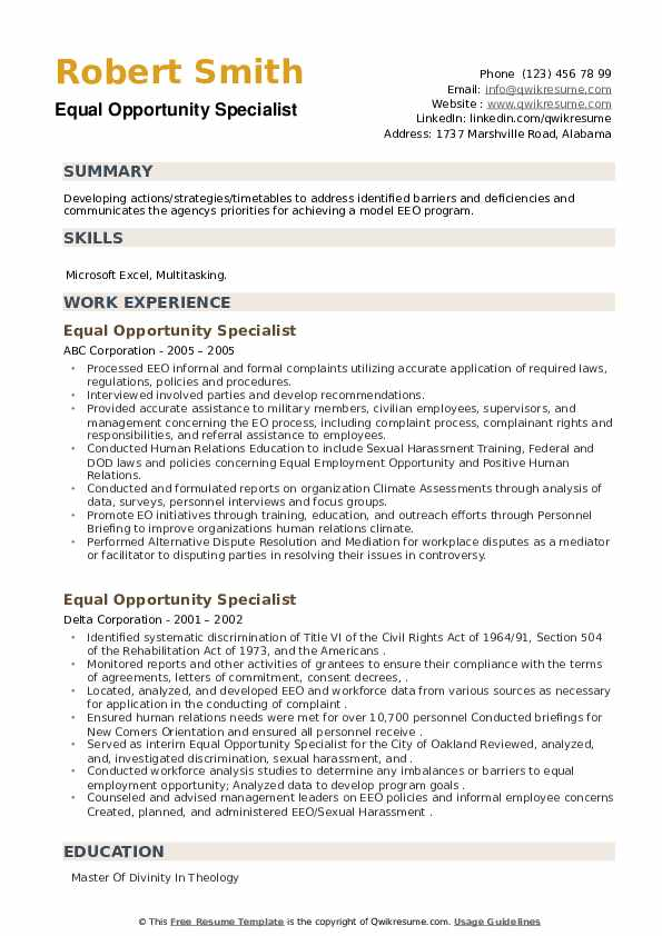 Equal Opportunity Specialist Resume example