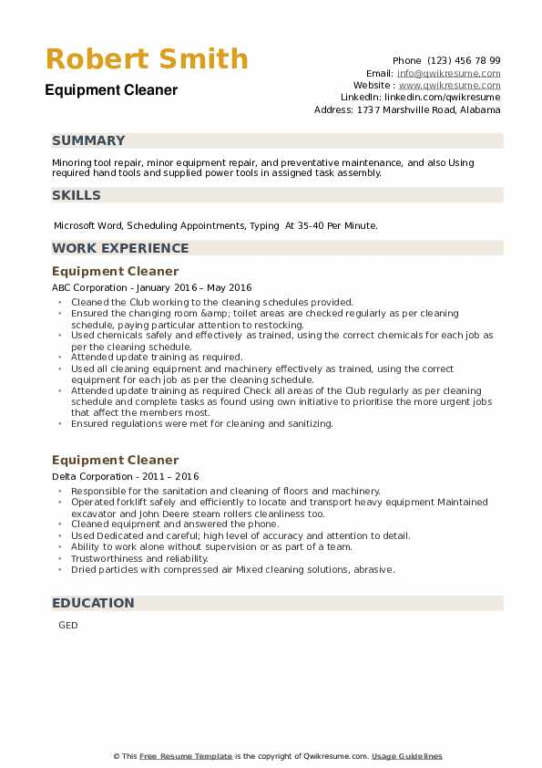 Equipment Cleaner Resume example