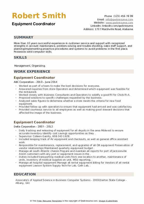 Equipment Coordinator Resume example