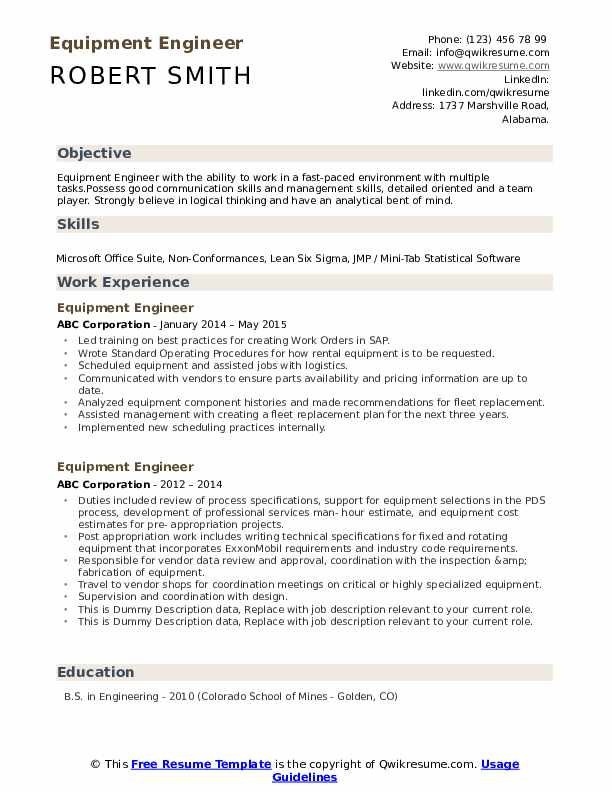Equipment Engineer Resume example