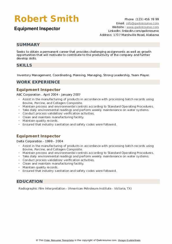 Equipment Inspector Resume example