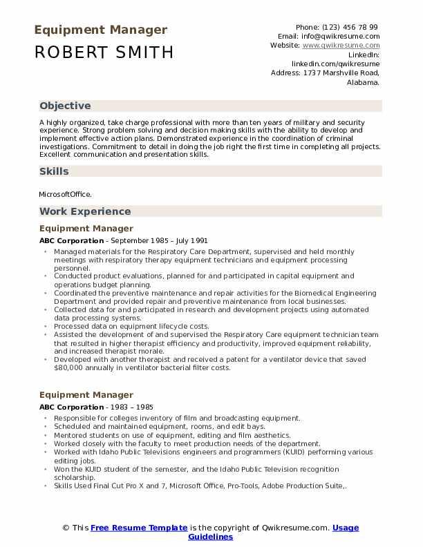Equipment Manager Resume Sample